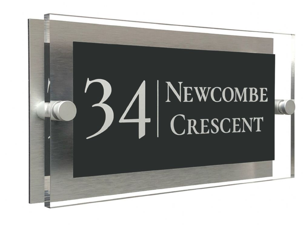 Rectangle Shape - Clear Acrylic House Sign - Anthracite Colour with White text in Font  2